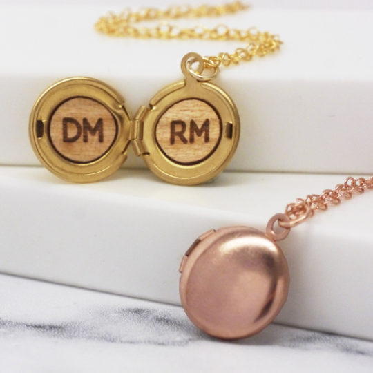 Personalised Initials Mini Round Locket Necklace