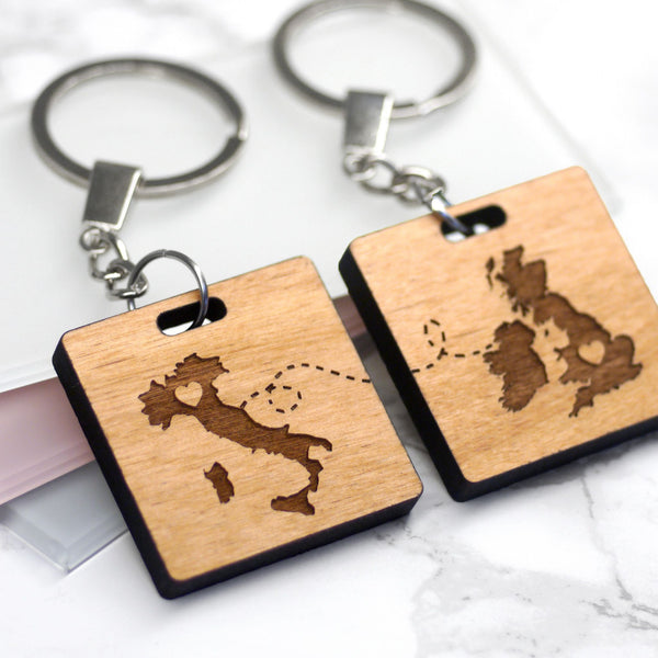 Set Of Two Personalised Our Journey Key Rings