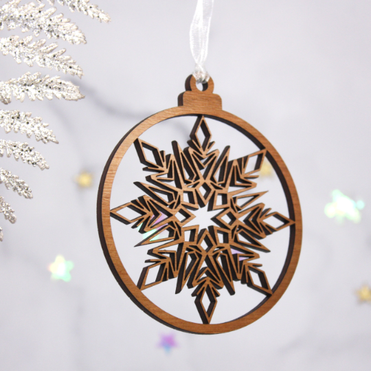 Set of 2 Snowflake Wooden Baubles