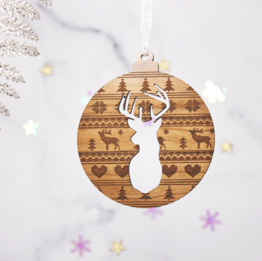 Set Of 4 Cross Stitch Cut Out Stag Baubles