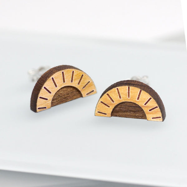 Wooden Sun Stud Earrings