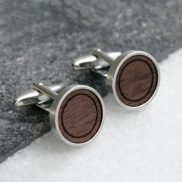 Personalised Minimalist Walnut Wood Cufflinks