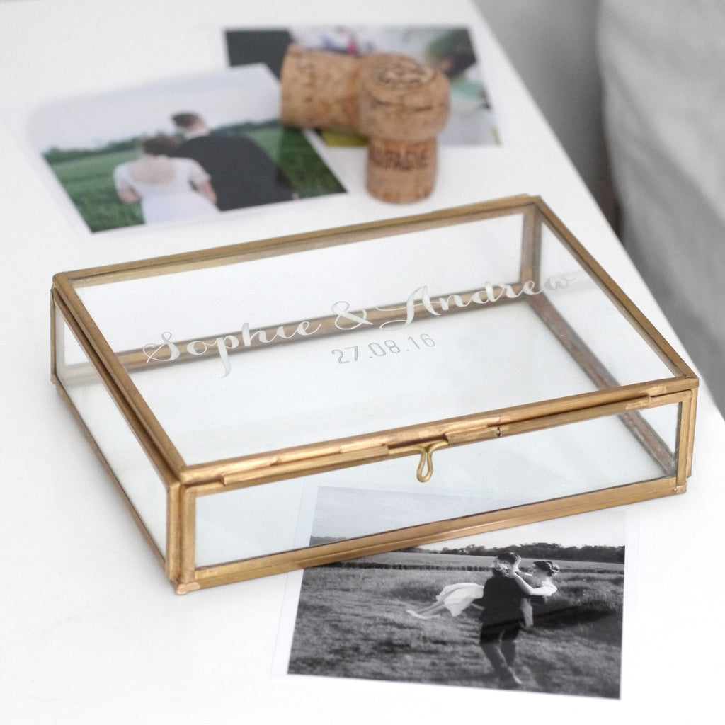 Glass personalised wedding keepsake box