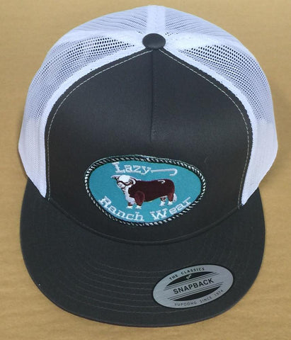 "Lazy J Ranch Wear Grey and White Hereford Logo Cap (4"") - Southern Girls Boutique"