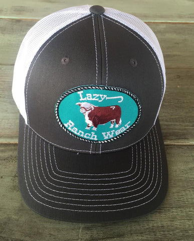 "Lazy J Ranch Wear Grey and White  Hereford Logo Cap (3.5"") - Southern Girls Boutique"