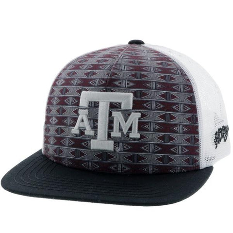 HOOey Maroon Aztec Print & White Texas A&M Patch Snapback Cap 7025TMAWH - Southern Girls Boutique