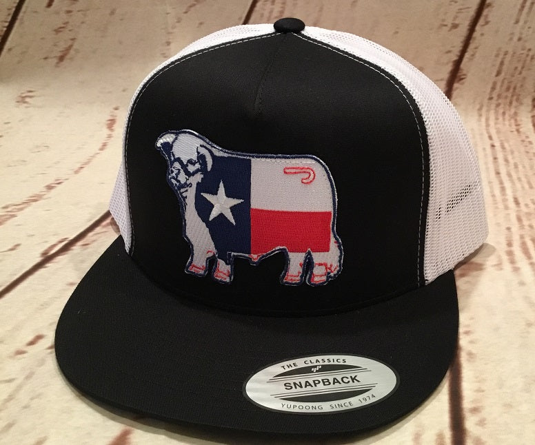 Lazy J Black and White Texas Flag Hereford Patch Cap (4