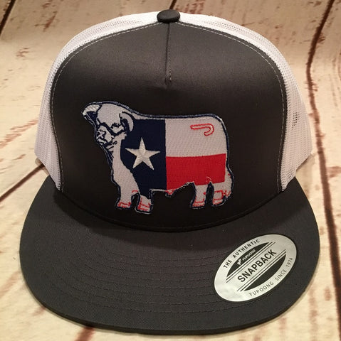 Lazy J Grey and White Texas Flag Hereford Patch Cap Mesh Trucker - Southern Girls Boutique