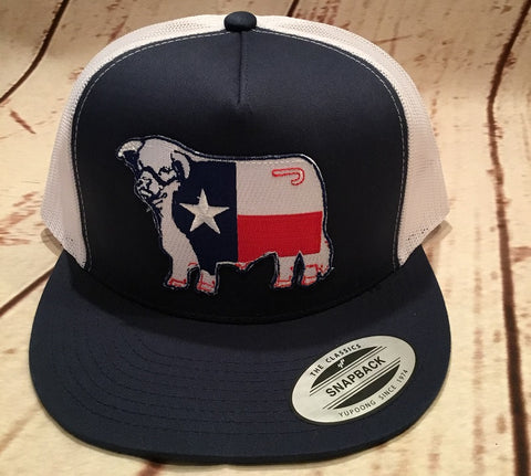 Lazy J Navy and White Texas Flag Hereford Patch Cap  Mesh Trucker - Southern Girls Boutique