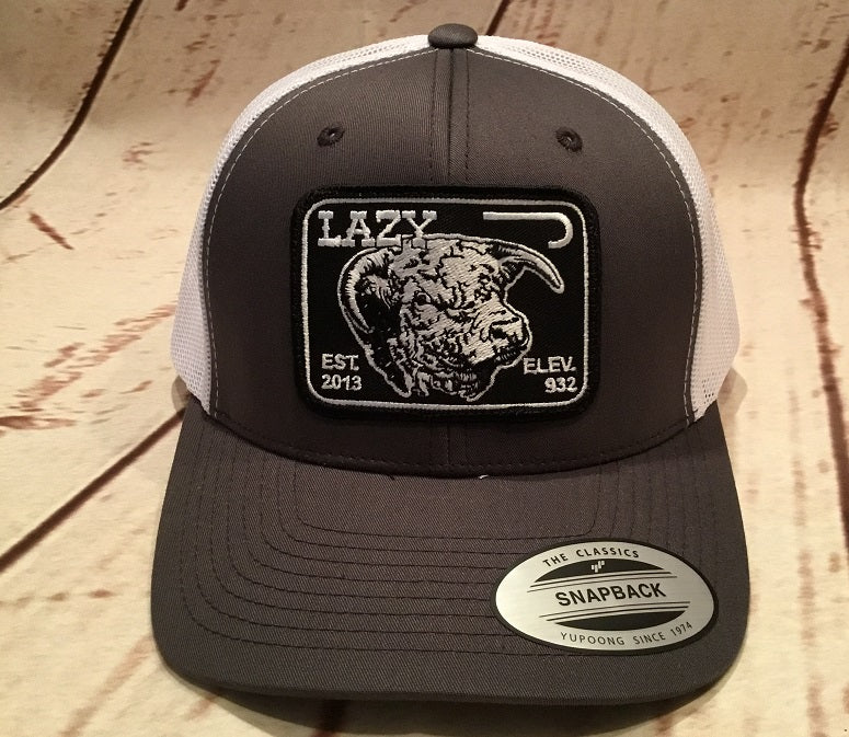 Lazy J Gray and White Elevation Hereford Patch Cap Mesh Trucker - Southern  Girls Boutique ... 4a29d441927