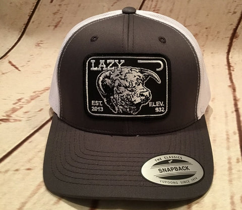 Lazy J Gray and White Elevation Hereford Patch Cap   Mesh Trucker - Southern Girls Boutique