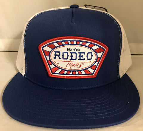 "Red Dirt Hat Co ""Rodeo Texas"" Royal / White Snap Back Trucker Hat - Southern Girls Boutique"