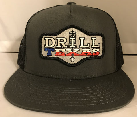"Red Dirt Hat Co ""Drill Texas"" Charcoal / Black Snap Back Trucker Hat - Southern Girls Boutique"
