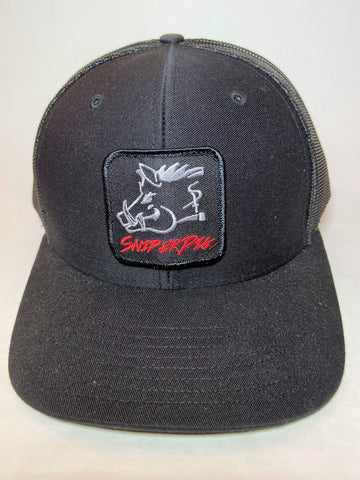 Sniper Pig Black on Black  Patch Cap - Southern Girls Boutique