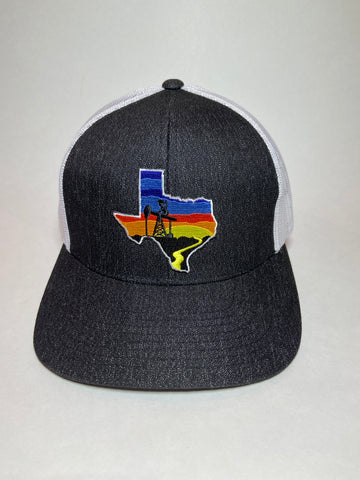 Heather Black/White TX Sunset Patch Oil Field hat - Southern Girls Boutique