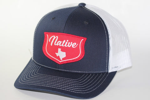 Red Dirt Hat Co Native Texan  Navy / White Snap Back Trucker Hat - Southern Girls Boutique