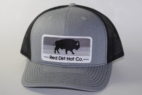 "Red Dirt Hat Co ""Stoney Buffalo"" Heather Grey / Black Snap Back Trucker Hat - Southern Girls Boutique"