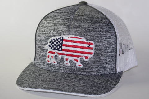 "Red Dirt Hat Co ""USA Buffalo"" Heather Grey / White Snap Back Trucker Hat - Southern Girls Boutique"