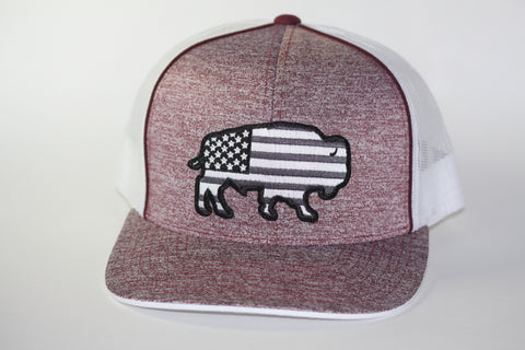 "Red Dirt Hat Co ""USA Buffalo"" Heather Maroon / White Snap Back Trucker Hat - Southern Girls Boutique"