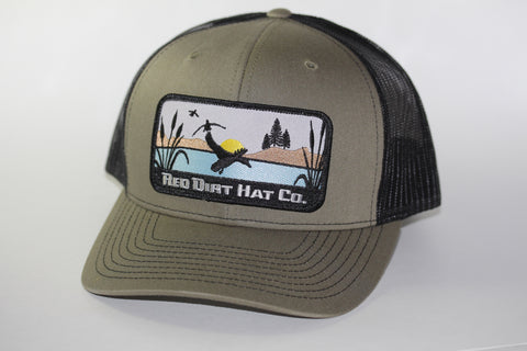 "Red Dirt Hat Co ""Ducks"" Loden / Black Snap Back Hunting Hat - Southern Girls Boutique"