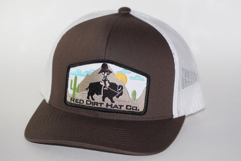 "Red Dirt Hat Co ""Jango Rides Again"" Brown / White Snap Back Trucker Hat - Southern Girls Boutique"