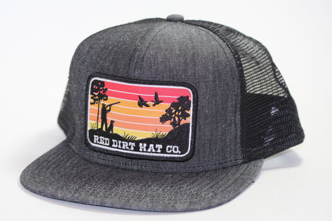 "Red Dirt Hat Co ""Flight Cancelled"" – Black / Black  Snap Back Trucker Hat - Southern Girls Boutique"