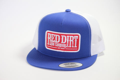 Red Dirt Hat Co Patch Royal Blue/White Mesh Snap Back Trucker Hat - Southern Girls Boutique