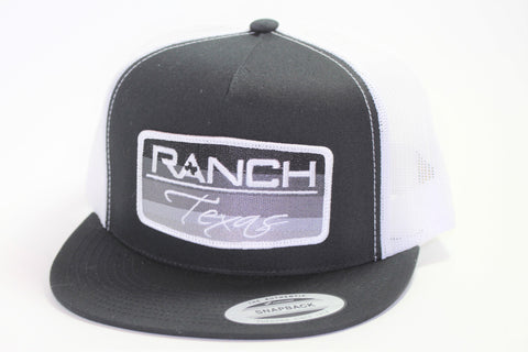 Red Dirt Hat Co Patch Ranch Texas Black/White Mesh Snap Back Trucker Hat - Southern Girls Boutique