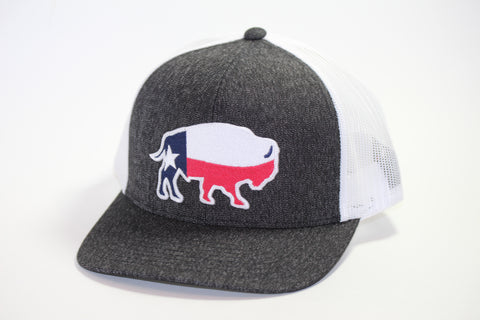 "Red Dirt Hat Co ""Texas Buffalo"" Heather Black / White Snap Back Trucker Hat - Southern Girls Boutique"