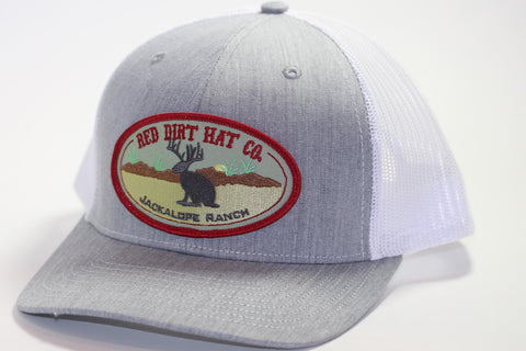 "Red Dirt Hat Co ""Jackalope"" Heather Grey / White Snap Back Trucker Hat - Southern Girls Boutique"