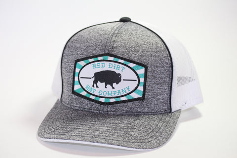 "Red Dirt Hat Co ""Beachnut Turquoise"" Heather Black / White  Snap Back Trucker Hat - Southern Girls Boutique"