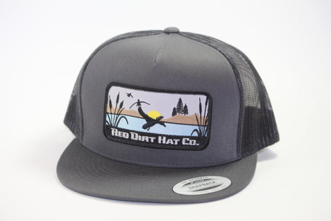 "Red Dirt Hat Co ""Ducks"" Charcoal / Black  Snap Back Hunting Hat - Southern Girls Boutique"