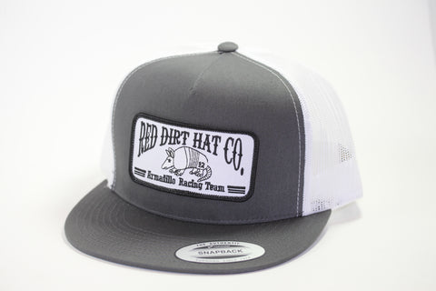 "Red Dirt Hat Co ""Armadillo Racing Team"" Charcoal / White  Snap Back Hunting Hat - Southern Girls Boutique"