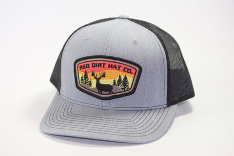 "Red Dirt Hat Co """"Deer Patch"" Heather Grey / Black Snap Back Hunting Hat - Southern Girls Boutique"
