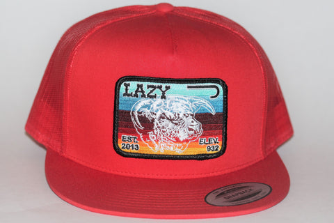 "Lazy J Ranch Wear Red & Red Serape Elevation Patch Cap (4"") - Southern Girls Boutique"