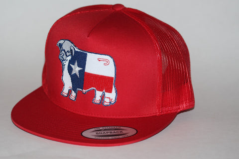 "Lazy J Ranch Wear Red & Red Texas Patch Cap (4"") - Southern Girls Boutique"