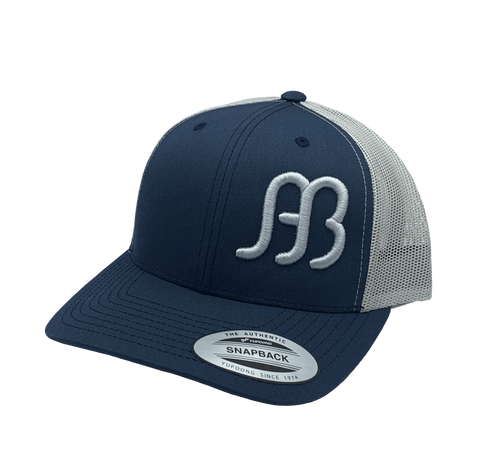 "Red Dirt Hat Co """"Anderson Bean"" – Navy / Silver Snap Back Trucker Hat"