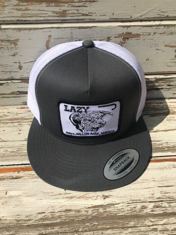 "Lazy J Ranch Wear Gray and White Headquarters Patch Cap (4"") - Southern Girls Boutique"