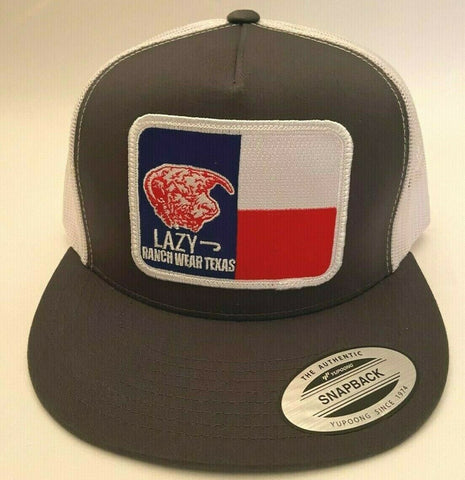 "Lazy J Ranch Wear Gray & White 4"" Texas Elevation Patch Cap - Southern Girls Boutique"