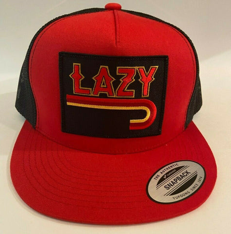 "Lazy J Ranch Wear Red & Black 4"" Fire J Patch Cap Lazy J Hat - Southern Girls Boutique"