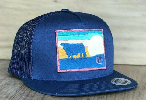 "Lazy J Ranch Wear Navy & Navy 4"" Sky Patch Cap Lazy J Hat - Southern Girls Boutique"