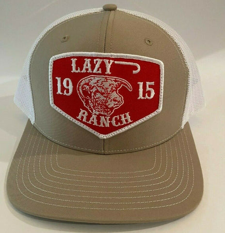 "Lazy J Ranch Wear Tan & White 3.5"" Red Ranch Patch Lazy J Hat - Southern Girls Boutique"