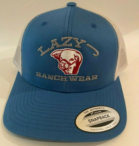 Lazy J Ranch Wear Blue & Silver 3.5 Bull Head Embroidered Logo Cap - Southern Girls Boutique