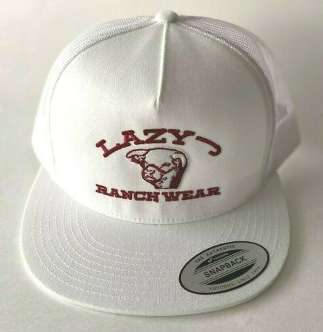 Lazy J Ranch Wear Embroidered LJRW Show Bull All White Cap Trucker Snapback - Southern Girls Boutique