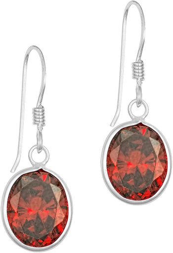 .925 Sterling Silver 7/16 Simulated Diamond Red CZ Oval Drop Earrings for Women