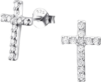 .925 Sterling Silver .55 cttw CZ Simulated Diamond Cross Stud Earrings