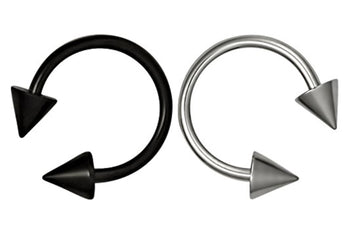 Set of Black and Silver Spiked Horseshoe Septum Rings
