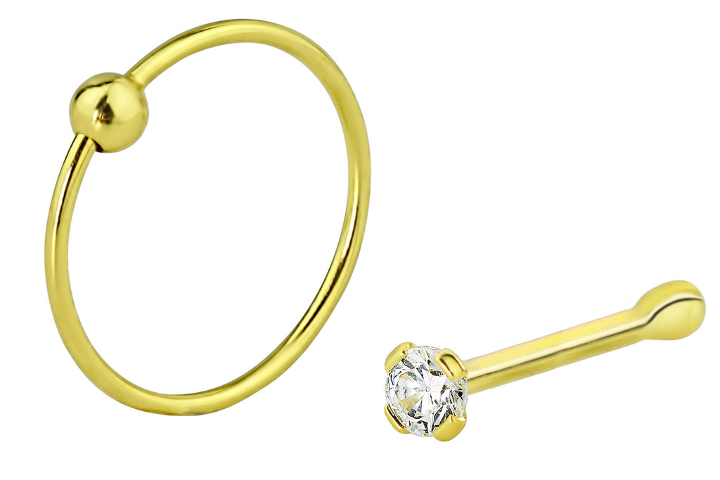 This set of 22 gauge nose rings includes one 1.25 mm CZ crystal stud and one 9 mm hoop ball ring. This hypoallergenic body jewelry is made with .925 Sterling Silver and 18k yellow gold plating.