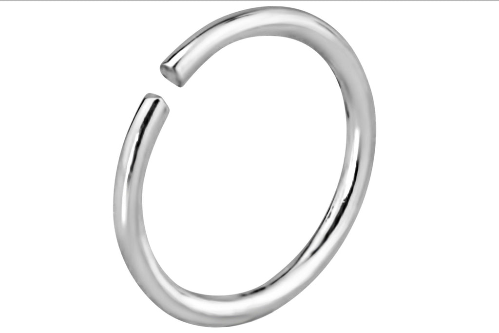 This 20 gauge seamless nose hoop is made with .925 Sterling Silver.