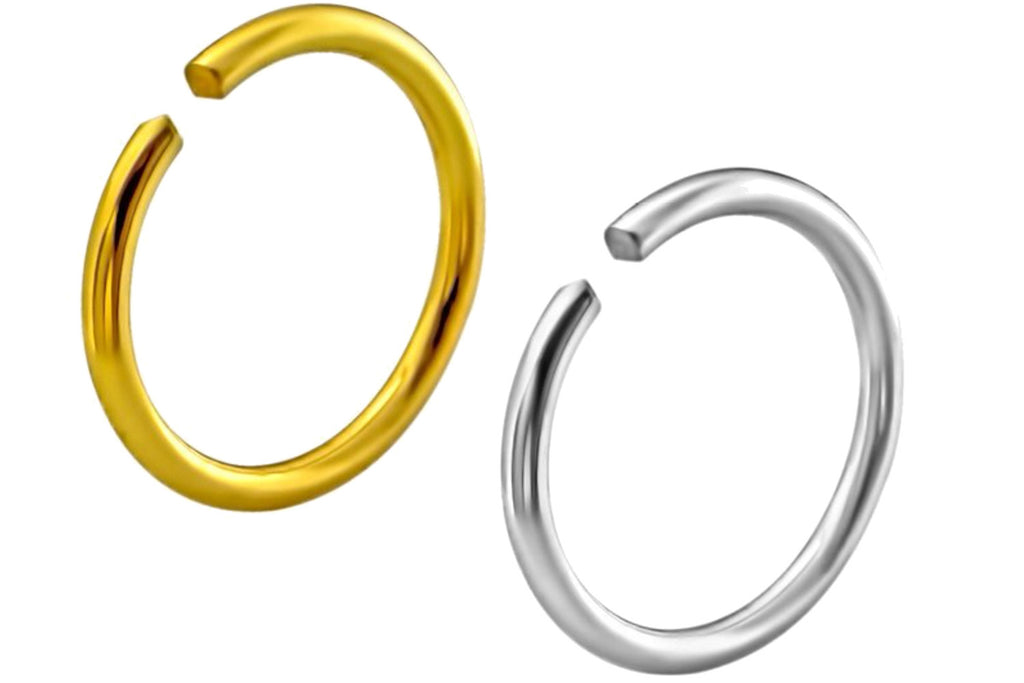 These 20 gauge seamless nose hoops are made with .925 Sterling Silver. The gold hoop is plated with 18k yellow gold.